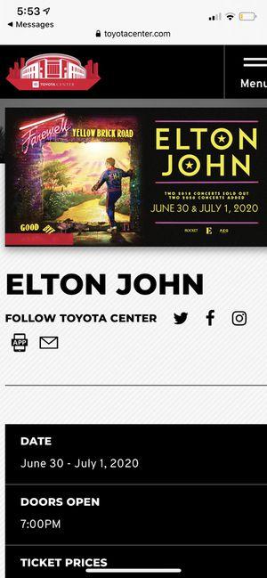ELTON JOHN HOUSTON, TX, JUL 1 for Sale in Homewood, IL