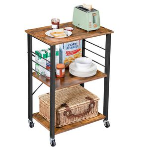 Kitchen Baker's Rack, Microwave Oven Stand Storage Cart, 3-Tier Serving Cart with Metal Frame and 6 Hooks for Sale in Irvine, CA