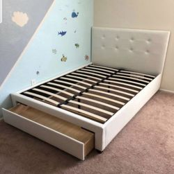 Brand New Full Size White Leather Platform Bed Frame w/Storage Drawer for Sale in Silver Spring,  MD