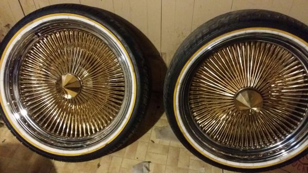 22inch Vogue Tires And Gold And Chrome Dayton Style Wire Rims For Sale In Milwaukee Wi Offerup