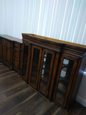 Antique flame solid mahogany leather inserts two piece dining room China hutch for Sale in Paramount, CA