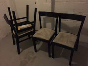 Black matching IKEA Chairs 4 and Table Seats 4-8 for Sale in Arlington, VA