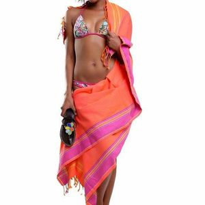 Orange Sarong Beach Wrap cotton African kikoy for Sale in GRANT VLKRIA, FL