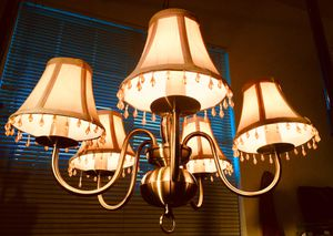 Elegant brass ceiling lamp brass w shades 5 lights for Sale in Chandler, AZ