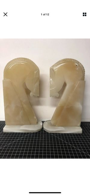 "Vintage Large Marble Horse Head Bookends 13"" for Sale in Los Angeles, CA"