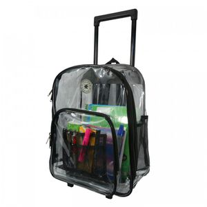 Rolling Clear Backpack Heavy Duty See Through Daypack School Bookbag with Wheels for Sale in Pico Rivera, CA