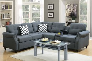 New blue grey polyfiber fabric sofa sectional with USB,cupholders and storage for Sale in Pomona, CA