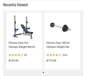 Fitness Gear Olympic bench and 300lb Olympic weight set with Olympic bar (w/ collars) and Body Solid curl bar with 100lbs in weights(w/ collars) for Sale in Baltimore, MD