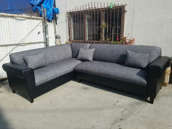 NEW 7X9FT HENNESSEY ZEBRA BLACK FABRIC SECTIONAL COUCHES