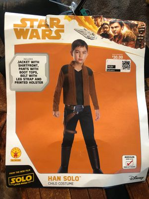 New Star Wars Halloween Costume Han Solo Boy Size Med 8-10 for Sale in Fontana, CA