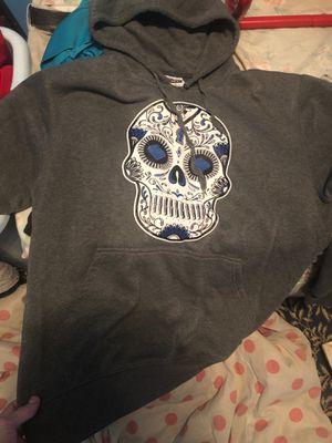 Grey sweatshirt hoodie XL skull design for Sale in San Ramon, CA