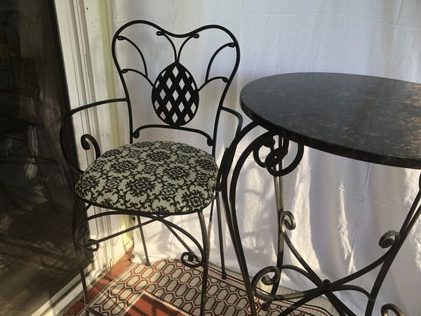 3 Piece Bistro Table Set Granite and Wrought Iron