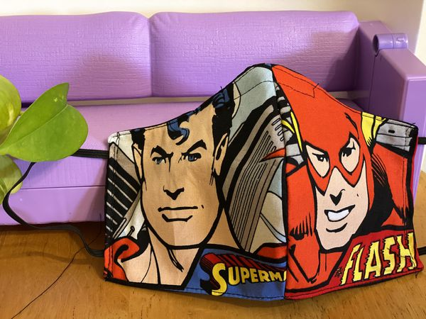 Superman and flash face mask