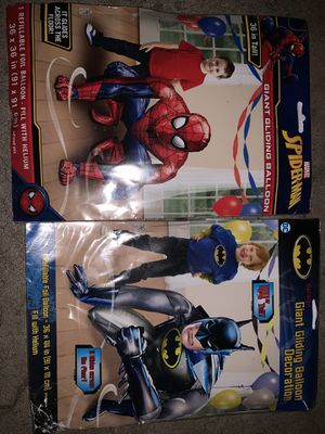 Superman and Batman gliding balloons for Sale in Stockton, CA