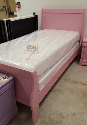 Brand New Twin Size Pink Wood Sleigh Bed Frame ONLY for Sale in Silver Spring, MD