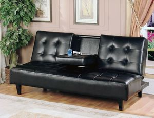 BLACK Faux Leather FUTON Sofa Bed CENTER DROP DOWN CUP HOLDER for Sale in San Diego, CA