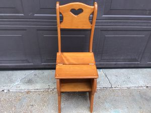 Wood chair or step stool folds into ether like new for Sale in St. Louis, MO