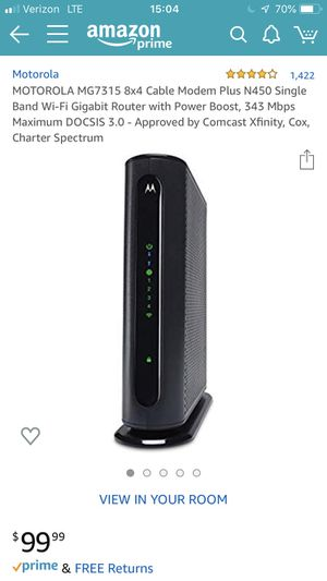 MOTOROLA MG7315 8x4 Cable Modem for Sale in Boulder, CO