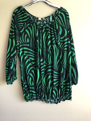 Michael Kors Womens Peasant Top Green & Navy Size XL Blouse for Sale in Fresno, CA
