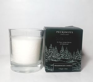 Kn1000 NEW Pecksniffs winter walks scented candle glass holder made in England fir trees juniper berries cedarwood 3.8 ounce for Sale in Southaven, MS