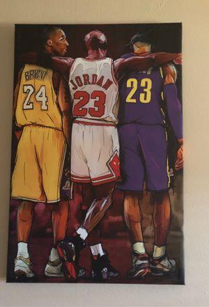 Kobe, MJ, and Lebron Portrait for Sale in Huntington Park, CA