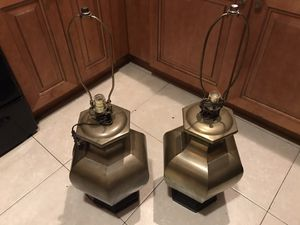 Brass Table / Nightstand Lamps - No Shades for Sale in Pompano Beach, FL