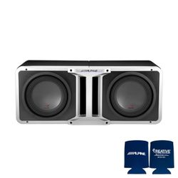 Alpine Pair of R-SB12V Pre-Loaded R-Series 12-inch Subwoofer Enclosures, with KTX-H12 Linking kit With Kenwood XR1001-1 Amp for Sale in San Leandro,  CA