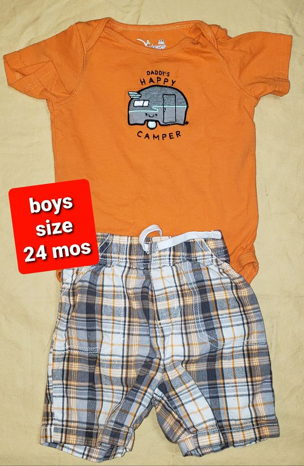 Boys size 24 months Clothes - Daddy's Happy Little Camper Onesie with Plaid Shorts (#233)