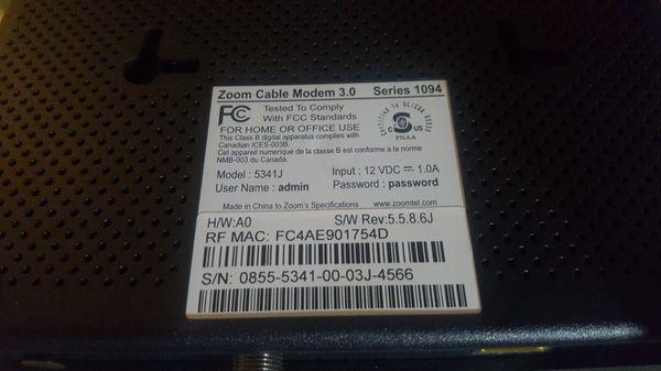 Zoom 5341J Modem 343 mbps docsis 3.0
