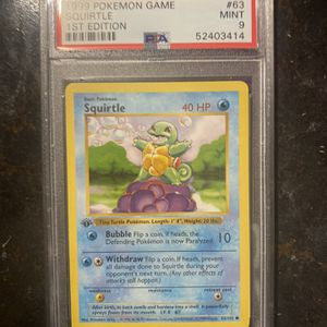Pokémon 💧1st Edition ‼️Shadowless Base Set Squirtle 💧 63/102 PSA 9 Mint - for Sale in Indianapolis, IN