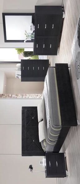 [HOT DEAL] Brahma Black Panel Bedroom Set. Dresser Mirror Nightstand bed frame queen 4 piece for Sale in Houston, TX