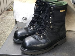 Wolverine Gore-Tex Steel Toes Black Leather Boots Size 8M for Sale in Covington, WA
