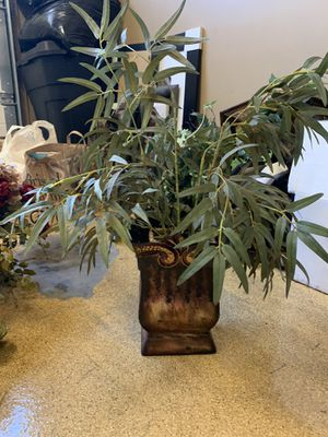 Fake Plant with Brown Metal Vase for Sale in Costa Mesa, CA