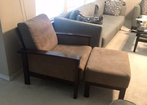 Tan Microsuede Chair with Matching Ottoman and Dark Wood Trim for Sale in McKinney, TX