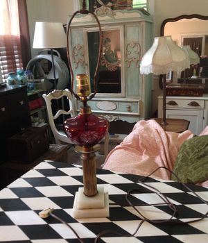 Beautiful antique cranberry lamp for Sale in Wilmington, DE