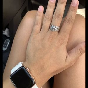 Stainless steel Wedding Ring Silver Color Crystal CZ Couple Rings Set Women Engagement Rings sizes 6, 7, 8 and 10 available $10 for Sale in Avondale, AZ