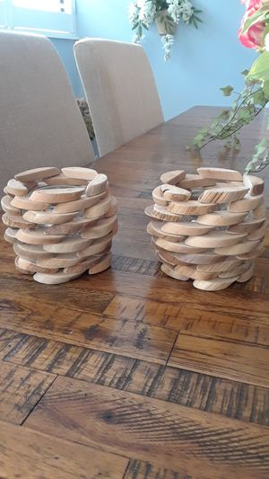 Set of two wooden candle holders for Sale in Port St. Lucie, FL