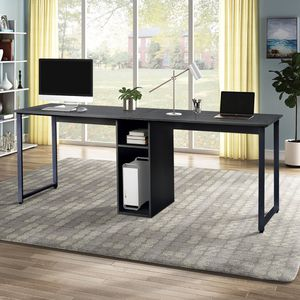 Home Office 2-Person Desk with Storage Black Perfect Furniture for Sale in Los Angeles, CA