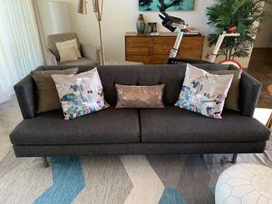 CB2 Avec Sofa in Carbon Grey/Black for Sale in Palm Springs, CA