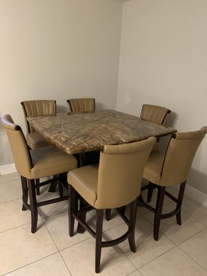 Dining Table Marbel Table /leather chairs for Sale in SUNNY ISL BCH, FL
