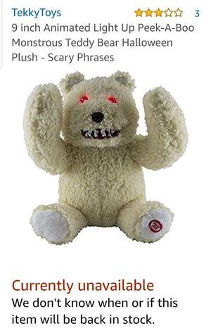 Peek-A-Boo Monstrous Teddy Bear Halloween for Sale in Forest Hill, TX