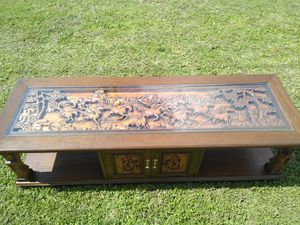 Antique hand carved cherry blossom and horse Japanese coffee table for Sale in Lakeland, FL