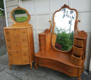 Bird Eye Maple Antique dresser and vanity with mirrors for Sale in Poulsbo, WA