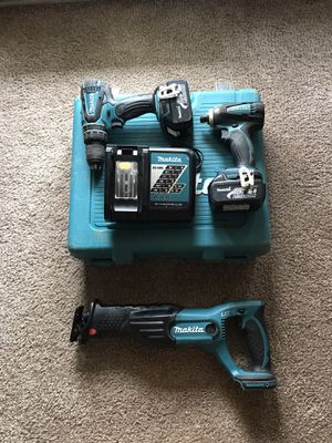 Makita 18V impact driver, hammerdrill, and sawzall for Sale in Greenville, SC