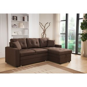 Pull Out Brown Linen Sectional Sofa Bed With Reversible Chaise and Storage for Sale in Monterey Park, CA