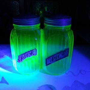 Vintage Uranium Glass Hoosier Spice Jars for Sale in Los Angeles, CA