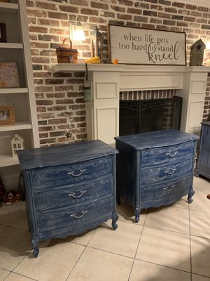 Two Beautiful Refinished French Provincial Small Dressers / Side Tables / Large Nightstands / Entryway for Sale in Lake Worth, FL