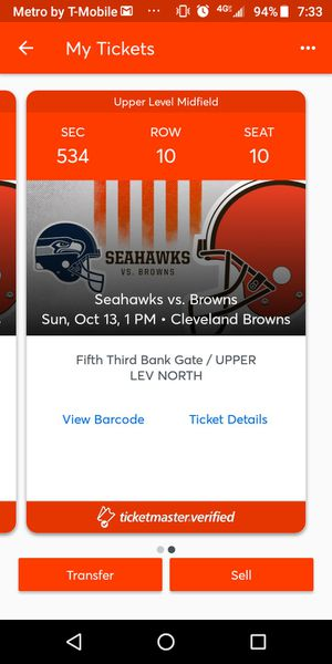 2 Tickets. Browns vs. Seahawks this Sunday for Sale in Cleveland, OH