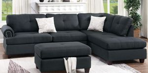 Brand New Ash Black Linen Sectional Sofa Couch +Storage Ottoman for Sale in Wheaton, MD