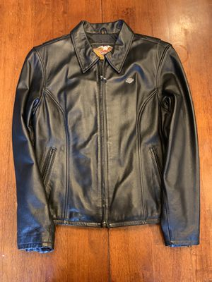 Womens Harley Davidson Black Leather Motorcycle Jacket Size Large Spellout EUC for Sale in Bettendorf, IA